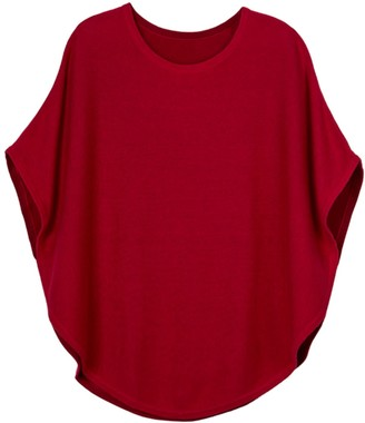 Cove Flora Cotton Cashmere Reversible Poncho Cranberry & Red