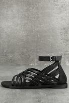 Rebels Trinity Black Leather Gladiator Sandals