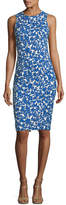 Michael Kors Field Floral-Print Stretch-Matelassé Sheath Dress