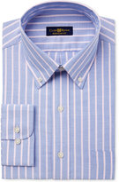Club Room Men's Estate Classic/Regular Fit Wrinkle Resistant Pink Blue Oxford Stripe Dress Shirt, Only at Macy's