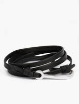 Miansai Black Leather and Silver-Plated Hook Bracelet