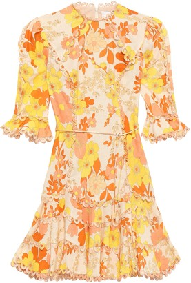 Zimmermann Fluted Floral-print Linen And Cotton-blend Mini Dress