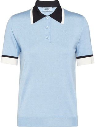 Prada Contrast-Collar Silk Polo Shirt