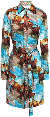 Victoria Victoria Beckham Belted Printed Satin-twill Mini Shirt Dress