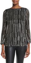 Diane von Furstenberg Evvy Sequined Tie-Back Silk Blouse, Black/Silver/Black