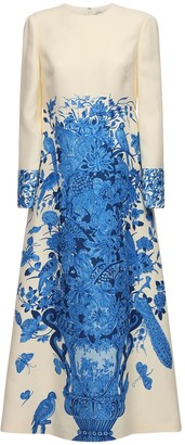 Valentino Delft Printed Crepe Couture Long Dress