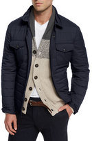 Brunello Cucinelli Milano Nylon Shirt Jacket, Navy