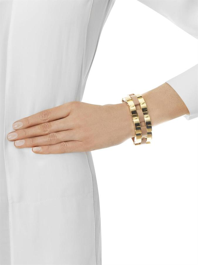 Chloé Gourmette gold chain and leather bracelet