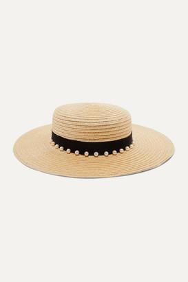 Eugenia Kim Colette Faux Pearl-embellished Grosgrain-trimmed Hemp-blend Hat - Beige