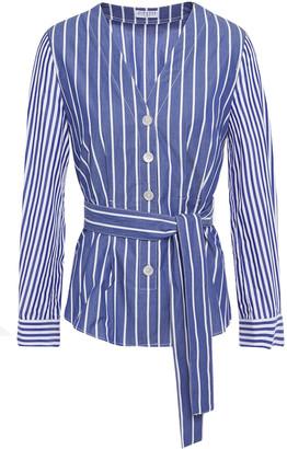 Claudie Pierlot Tie-front Striped Stretch-cotton Poplin Blouse