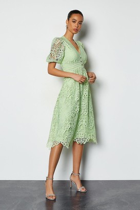 Karen Millen Cutwork Lace Short Sleeve Midi Dress