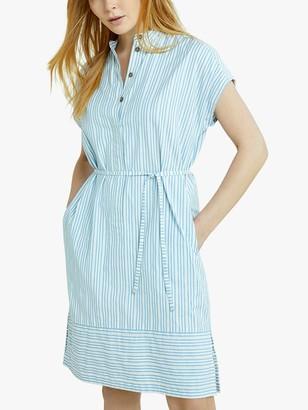 People Tree Hema Stripe Mini Dress, Blue/White