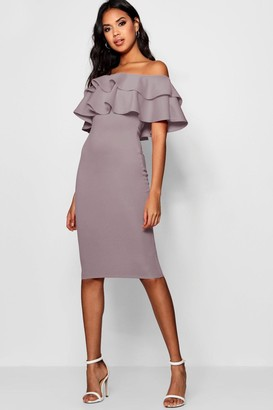 boohoo Off The Shoulder Layered Frill Detail Midi Dress