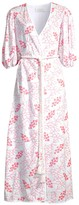 Cherry Tree Print Puff-Sleeve Tie-Waist Maxi Dress