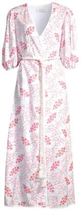Azulu Cherry Tree Print Puff-Sleeve Tie-Waist Maxi Dress