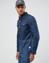 Bellfield Denim Shirt with Blocked Print