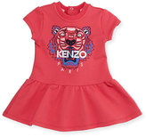 Kenzo Cap-Sleeve Tiger Fit-and-Flare Sweat Dress, Fuchsia, Size 6M-2