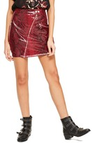 Missguided Women's High Shine Faux Snakeskin Miniskirt