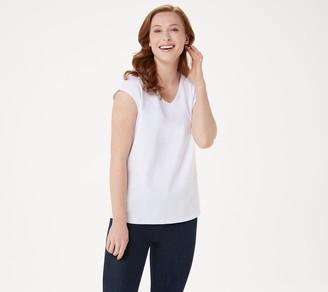 Bob Mackie Essential Cap-Sleeve V-Neck T-Shirt