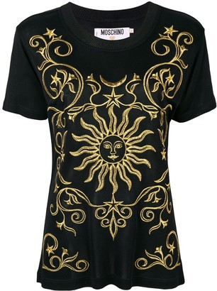 Moschino Pre Owned gold-tone embroidery T-shirt