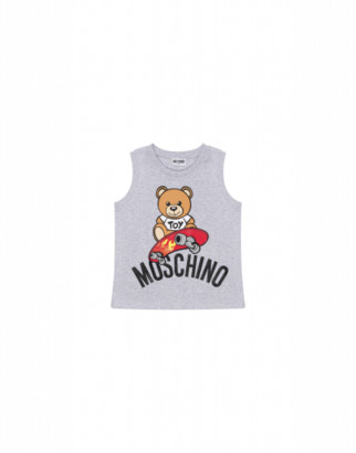 Moschino Skateboarder Teddy Bear Tank Top Man Grey Size 4a