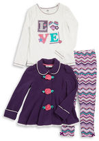 Kids Headquarters Girls 2-6x Fleece Jacket, Graphic Tee and Leggings Set