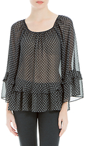 Max Studio Bell Sleeve Sheer Blouse, Black/Ivory