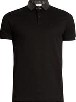 Saint Laurent Leather-collar short-sleeved cotton polo shirt