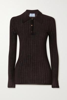 Prada Ribbed Cashmere And Silk-blend Polo Shirt - Brown