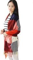YOYOMA Women's Big Grid Winter Warm Large Scarf Fashion Plaid Blanket Long Shawl Wrap