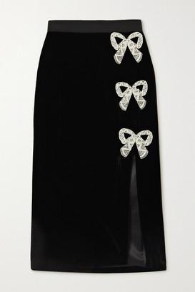 Saloni Kirsten Embellished Velvet Skirt - Black
