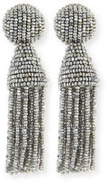Oscar de la Renta Beaded Short Tassel Clip Earrings