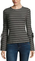 Miss Chievous Long Sleeve Crew Neck Knit Stripe Blouse-Juniors