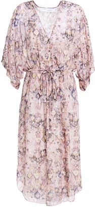 IRO Petunia Gathered Printed Silk-blend Fil Coupe Dress