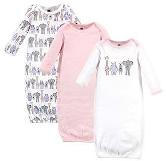 Hudson Baby Girls' Infant Gowns Pink - Pink & White Animal Gown Set - Newborn