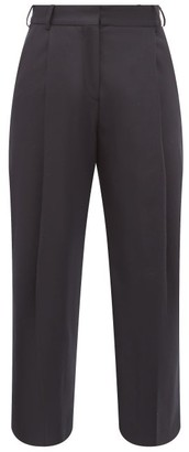 Margaret Howell High-rise Wool-flannel Wide-leg Trousers - Womens - Navy