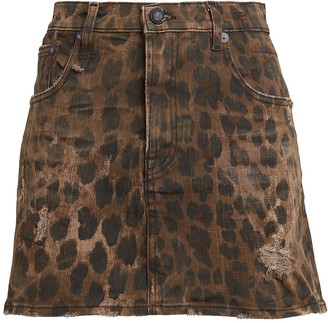 R 13 Leopard Print Denim Mini Skirt