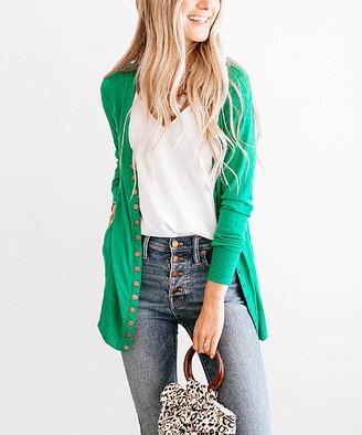 So Perla Affordable So Perla Affordable Women's Cardigans Kelly - Kelly Green Long Snap Pocket Cardigan - Women