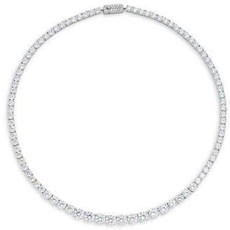 Adriana Orsini White Rhodium-Plated Cubic Zirconia Collar Necklace