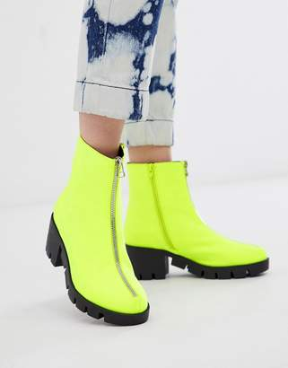 Asos Design DESIGN Rebel chunky zip ankle boots in neon yellow