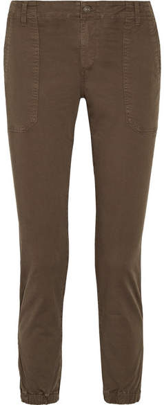 Vince Cotton-blend Twill Tapered Pants - Army green