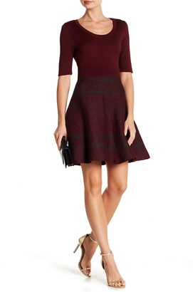 Scoop Neck Fit & Flare Knit Dress