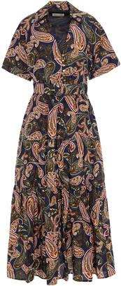 Nicholas Amina Belted Printed Cotton And Silk-blend Midi Dress