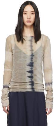 Raquel Allegra Brown Mesh Fitted Long Sleeve T-Shirt