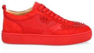Christian Louboutin Happy Rui Spikes Mixed-Media Sneakers