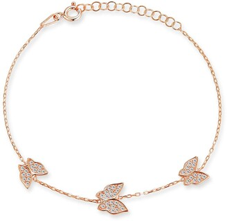 Sphera Milano 18K Rose Gold Plated Sterling Silver CZ Butterfly Bracelet