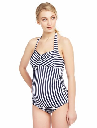 Motherhood Maternity Women's Maternity Halter Tie Detail Two Piece Tankini Swimsuit Set