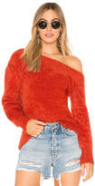 MinkPink Fluffy Off The Shoulder Knit Sweater