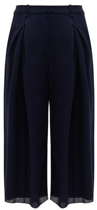 Roland Mouret Sunway Single-pleated Silk Wide-leg Trousers - Navy