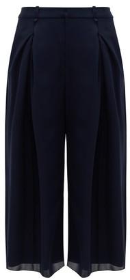 Roland Mouret Sunway Single-pleated Silk Wide-leg Trousers - Womens - Navy